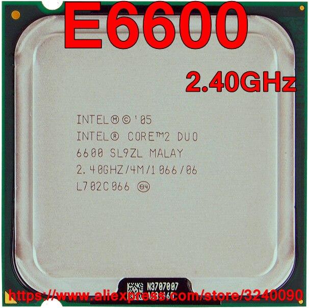 Original Intel CPU procesador CORE 2 DUO de E6600 de 2,40 GHz de 4M 1066MHz Dual-Core Socket 775 rápido envío
