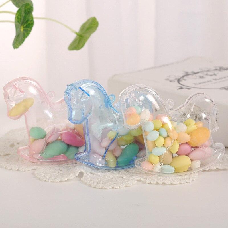 12 pçs kawaii dos desenhos animados cavalo padrão casamento caixas de doces ps caixa de presente de plástico casamento bebê aniversário chá de fraldas mesa peça central