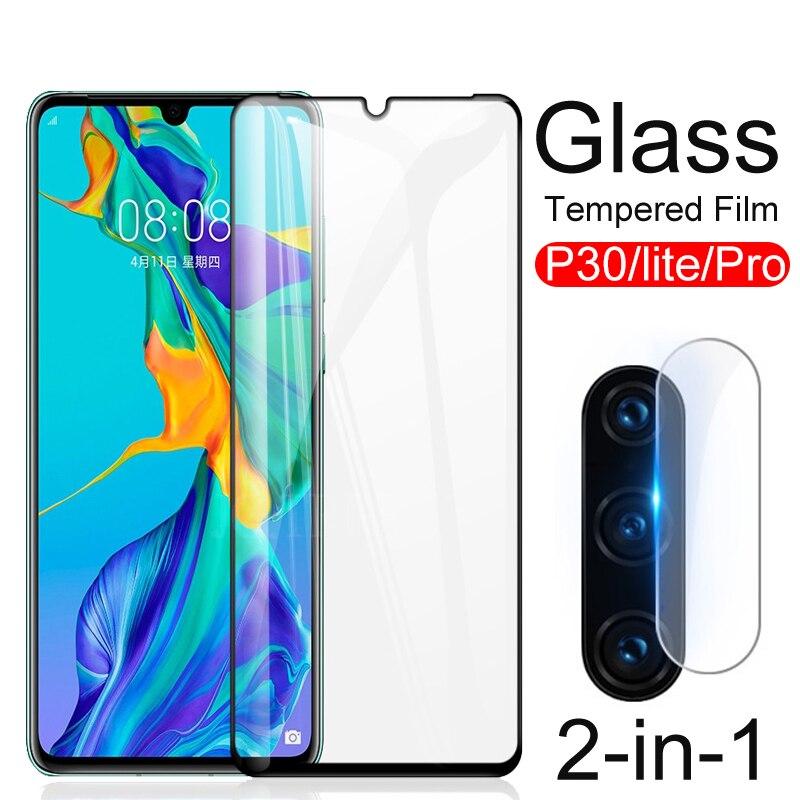 2-en-1 protector de lente de cámara para Huawei P30 P30lite protector de pantalla de vidrio templado para Huawei P 30 Pro Lite luz P30Pro película