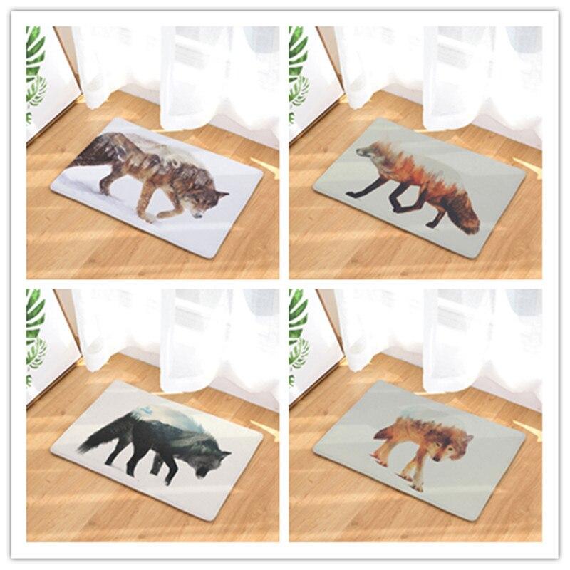 Impermeable estera de puerta de dibujos animados bosque oso zorro cocina alfombra dormitorio alfombras decorativa tapetes para escaleras casa manualidades decorativas