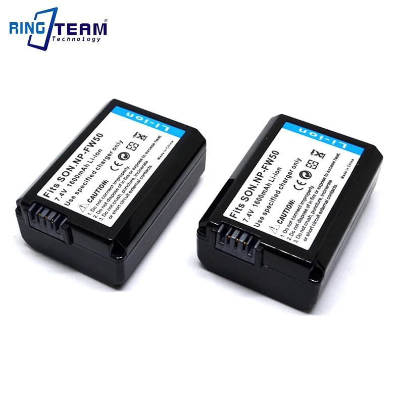 2 uds batería recargable NP-FW50 NP FW50 para Sony Alpha A3000 A3500...