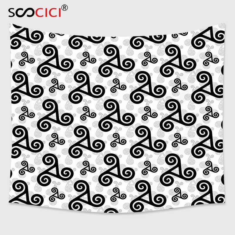 Tapiz Cutom para colgar en la pared, decoración céltica, diseño de trípodes celtas con tres espirales entrelazadas, emblema de guerreros heráldicos
