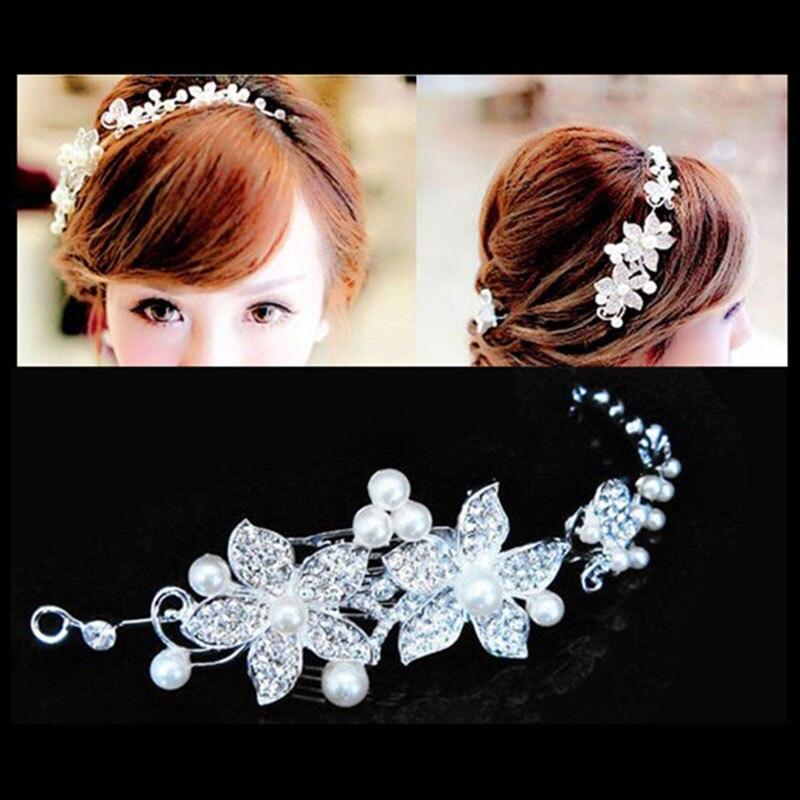 Korean Wedding Headband Dress Hair Accessories Vine White Crystal Bride Headdress Hand Bridal Bridesmaid Hair Jewelry Forehead