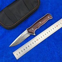 LEMIFSHE ST1502 Flipper folding knife Damascus steel blade Wood handle camping hunting   pocket Kitchen knives EDC tool