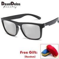 brand photochromic sunglasses men polarized chameleon discoloration sun glasses outdoors sports square driving accessories 2019
