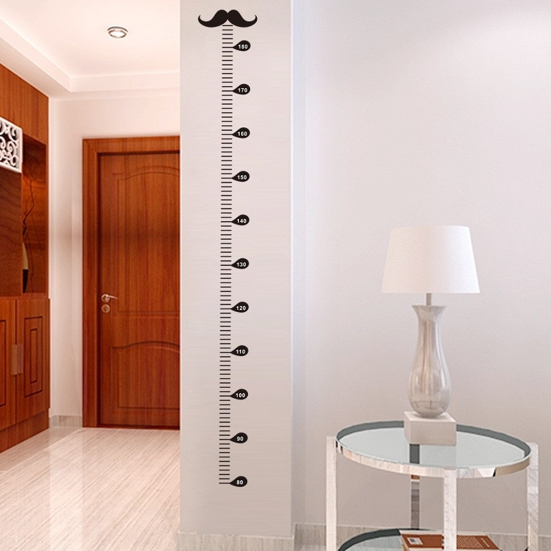 Tabla de crecimiento de bigote, calcomanías artísticas de pared decorativas, decoraciones para el hogar, sala de estar, Gif para niños DIY