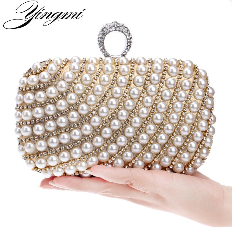 YINGMI Pearl diamond-studded evening bag evening bag with a diamond bag womens rhinestone day clutch female wedding/party bags