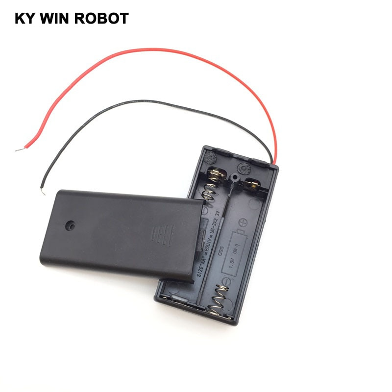 Черный футляр для 2 батарей AA, чехол с переключателем, новинка, футляр для 2 батарей AA 2A, чехол с переключателем