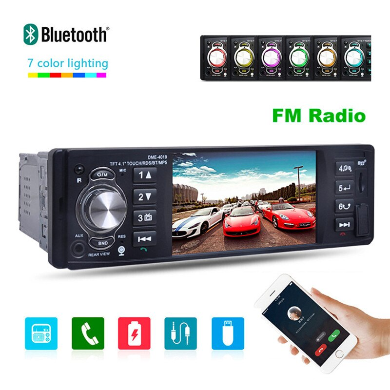 LTBFM 1 Din Radio de coche pantalla táctil MP5 Autoradio reproductor Multimedia coche estéreo AUDIO de coche Bluetooth RDS FM AUX USB cámara de respaldo