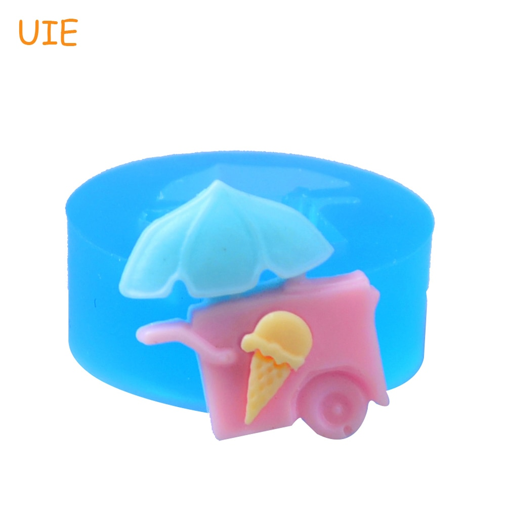 FYL039U Kawaii hielo crema carro/vendedor de helados triciclo molde de silicona 24mm-aire seco arcilla polimérica, pasta de azúcar moldes