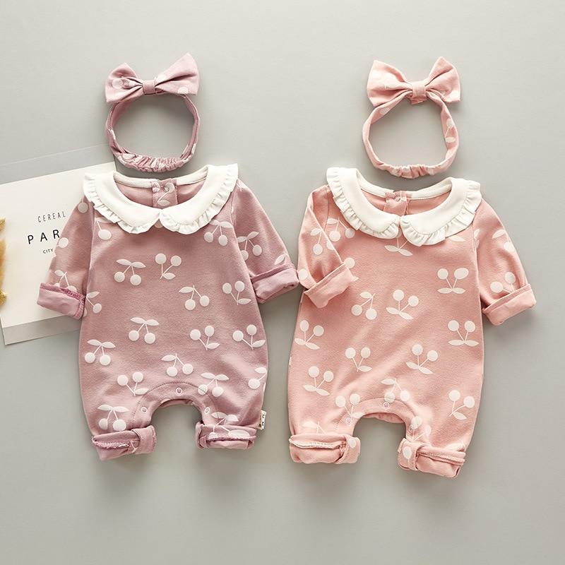 Mamelucos con estampado de cereza de dibujos animados para niño niña recién nacido, ropa para recién nacidos, peleles de algodón con diadema