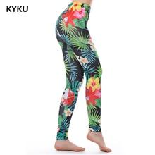 KYKU marque vert mauvaises herbes Leggings femmes feuilles tropicales Legins femmes Leggings impression Fitness Legging Sexy été 3d Silm mode
