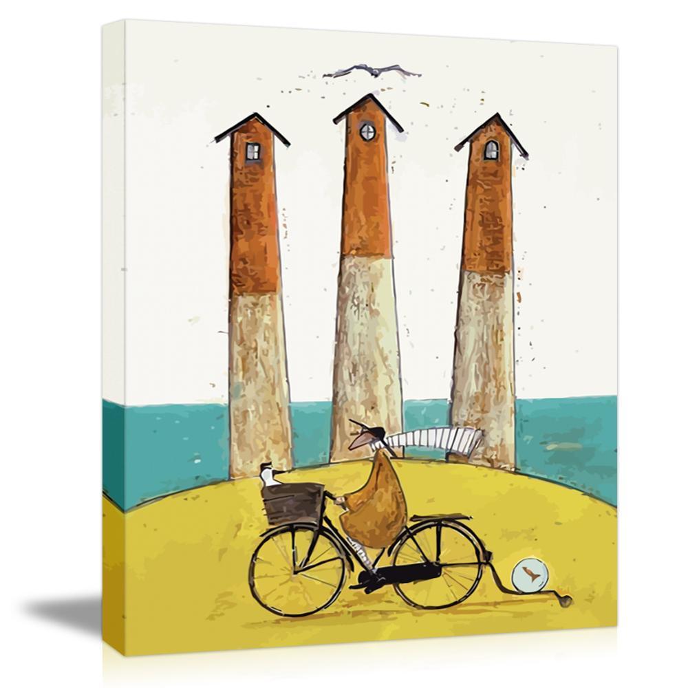 Montando Uma Bicicleta Simples Família Feliz Pintura da Lona Arte Da Parede Decoração de Casa Para O Quarto Sala de estar Pintura Caligrafia