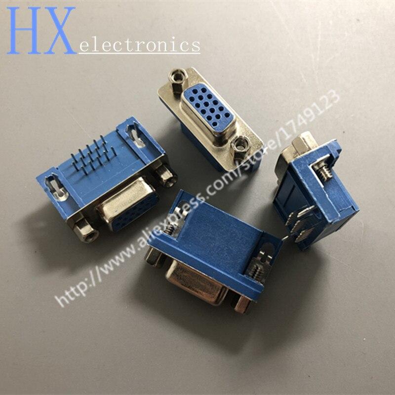 غراء أزرق طويل HDR15 أنثى DB15 ثلاثة صفوف 15 دبوس مقبس VGA ، توصيل مجاني ، 50 قطعة