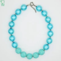 sky blue pearl bead necklace girl chunky bubblegum choker collares 2020 baby kids wholesale jewelry children pearl bead necklace
