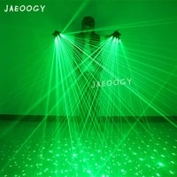 new 2 in 1 multi line green laser gloves with 4pcs 532nm 80mw laser led stage gloves for led luminous costumes show