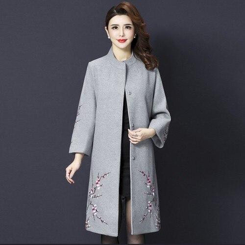 Abrigo de lana de alta calidad nuevo Otoño Invierno mujer cuello alto exquisitos diseños bordados femenina Ropa de Trabajo ropa de moda gris