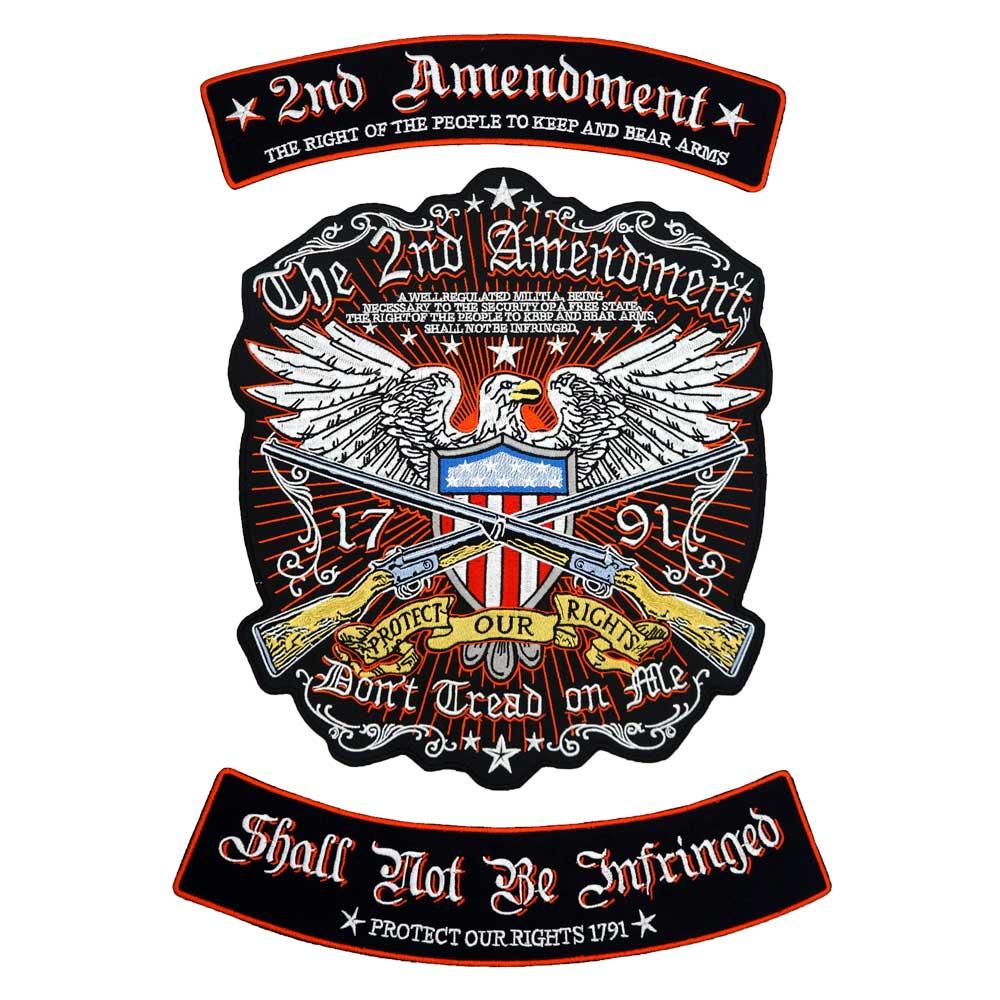 La 2ND AMENDMENT AMERICAN EAGLE BACK bordado punk biker parches adhesivos para ropa accesorios de ropa insignia 3 unids/set