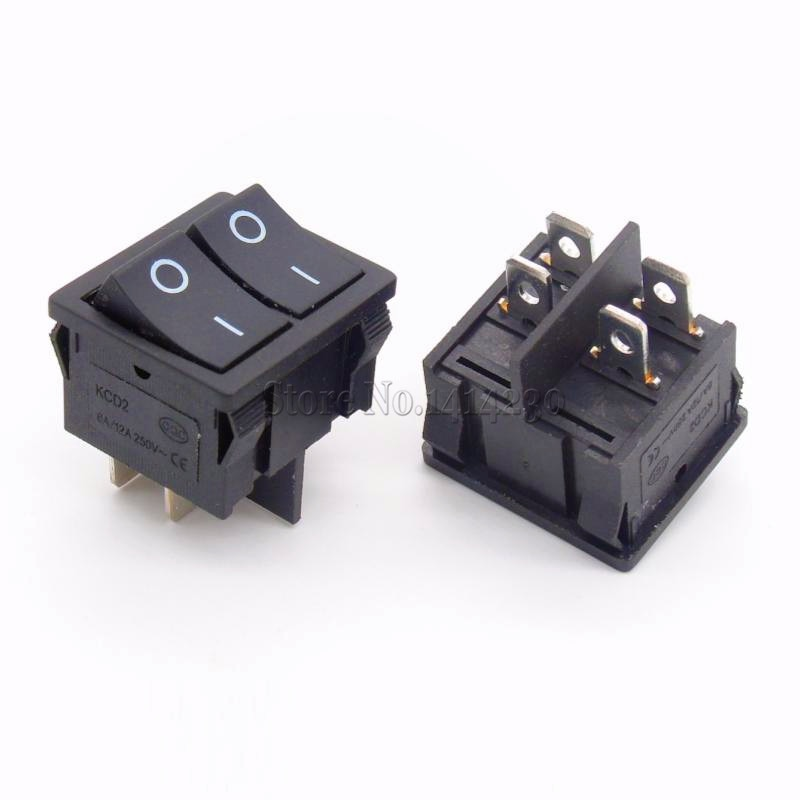 Interruptores basculantes negros KCD2 21x24mm 21x24mm interruptor de dos vías 4 pines 2 posiciones 6A/12A 250VAC ON-OFF