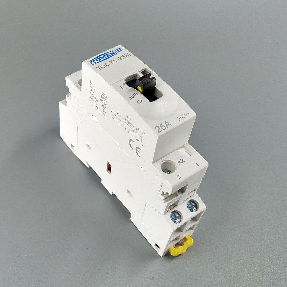 TOCT1 2P 25A 220 V/230 V 50/60 HZ, carril Din hogar ac contactor Modular con interruptor de Control Manual 2NO o 1NO 1NC o 2NC