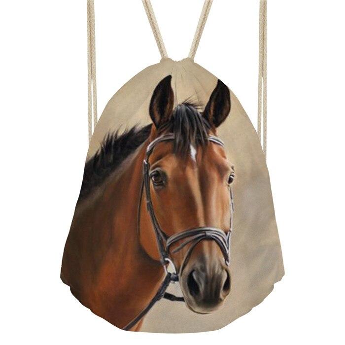 THIKIN Crazy caballo impreso chicas cordón bolsa mujeres pequeñas compras bolsa de hilo mujer moderna personalizar bolso de hombro Mochila