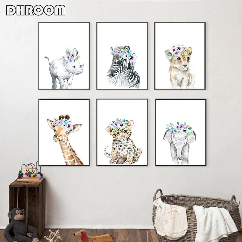 Lion Zebra Giraffe Baby Animal Prints Flowers Print Poster Safari Animals Picture Canvas Painting Kids Room Nursery Wall Decor