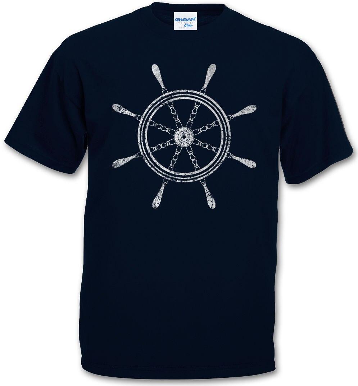 Camiseta para hombre, verano 2019, cuello redondo para hombre, OLDSCHOOL, náutica, tatuaje de rueda, barco, ancla, estrella, camiseta de marinero