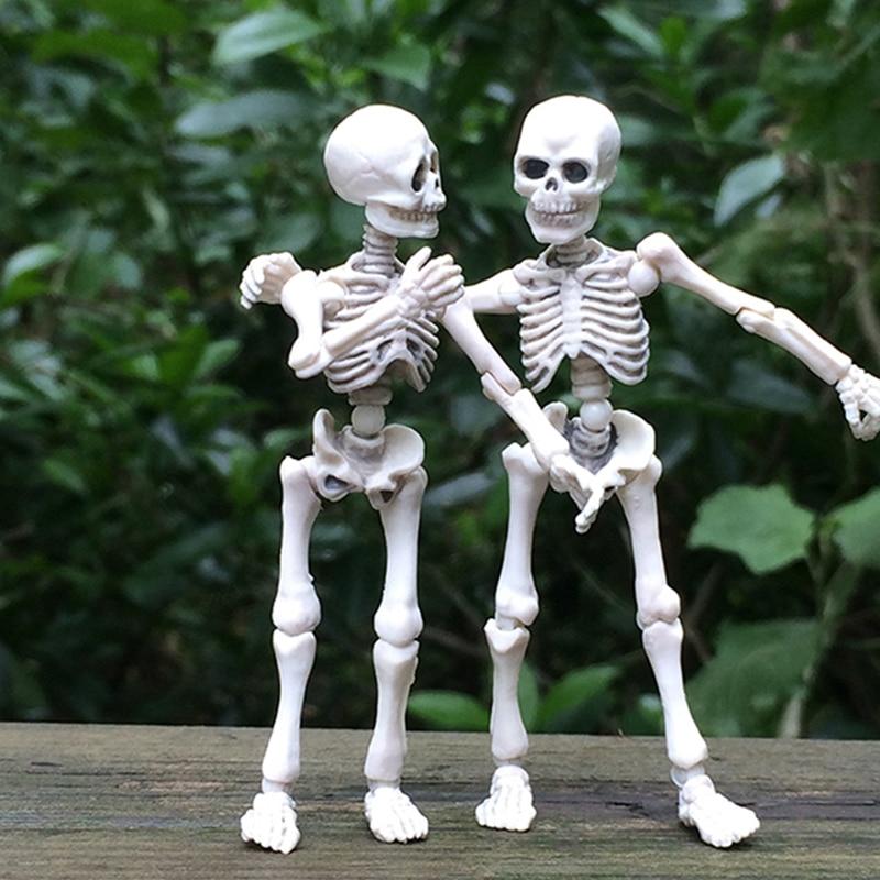 Подвижный Скелет человека, модель черепа, всего тела, мини-фигурка игрушка на Хэллоуин