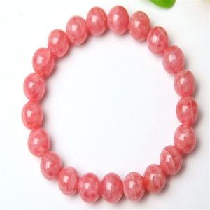 Genuine Natural Pink Rhodochrosite Round Bead Bracelet Jewelry Women Femme Charm Stretch Crystal Bracelet Drop Shipping 7mm