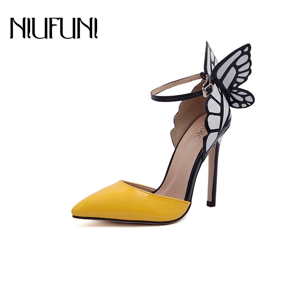 NIUFUNI-حذاء نسائي بكعب عالٍ بتصميم أجنحة الفراشة ، حذاء بمقدمة مدببة ، لون بني ، 2020