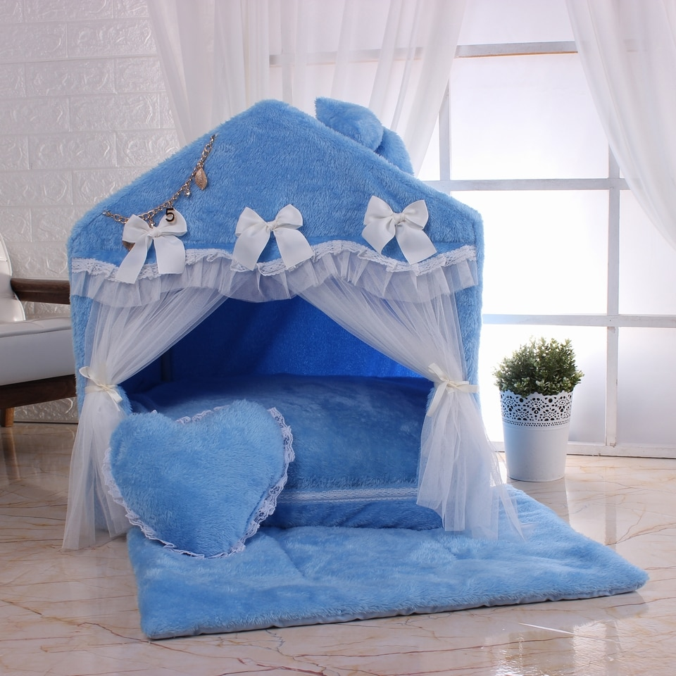 Warm and soft dog room lace door pet house cute kennel self-heating coral velvet kennel for easy cleaning