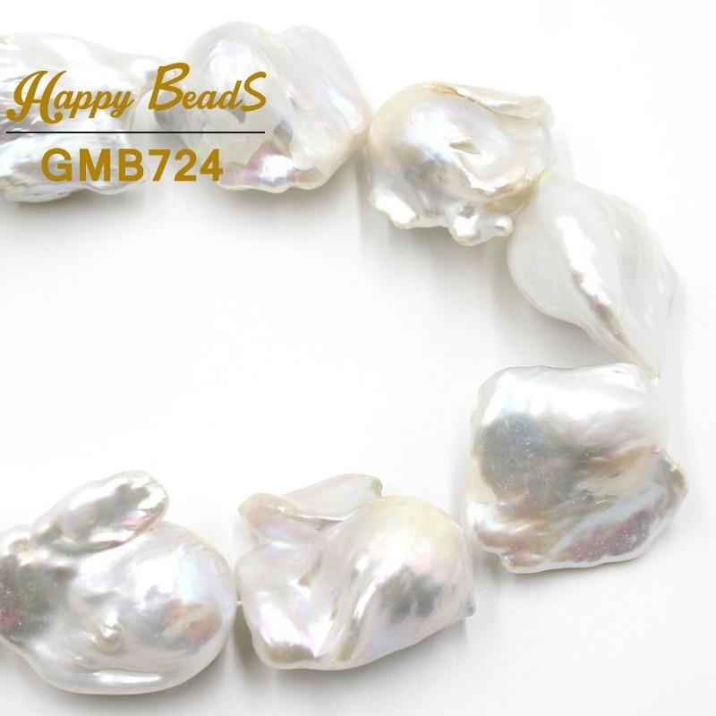 AAA + 14-28 مللي متر الأبيض الطبيعي الباروك اللؤلؤ المياه العذبة غير النظامية فضفاض الخرز لصنع المجوهرات أساور ذاتية الصنع قلادة 15