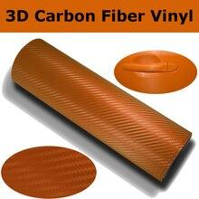 Película de envoltura de fibra de carbono 3D de PVC naranja para coche, lámina 3D de fibra de carbono para envolturas de coche con tamaño de canal de aire 1,52*30 M