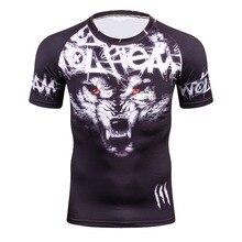 Camisetas 3D geniales para hombres, camiseta de compresión de manga corta con dibujo de lobo para niños, camiseta de piel ajustada para Fitness MMA, camiseta de levantamiento de pesas con capa Base