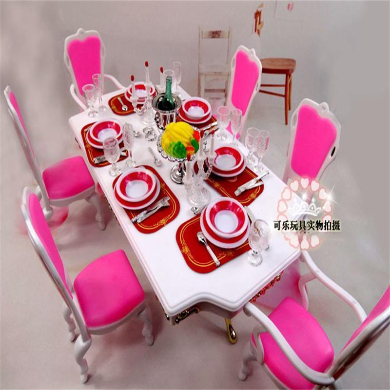 Para Barbie accesorios muebles para muñecas juguete de plástico Rosa mesa de comedor candelabro para mesa soportes silla regalo chica DIY Navidad