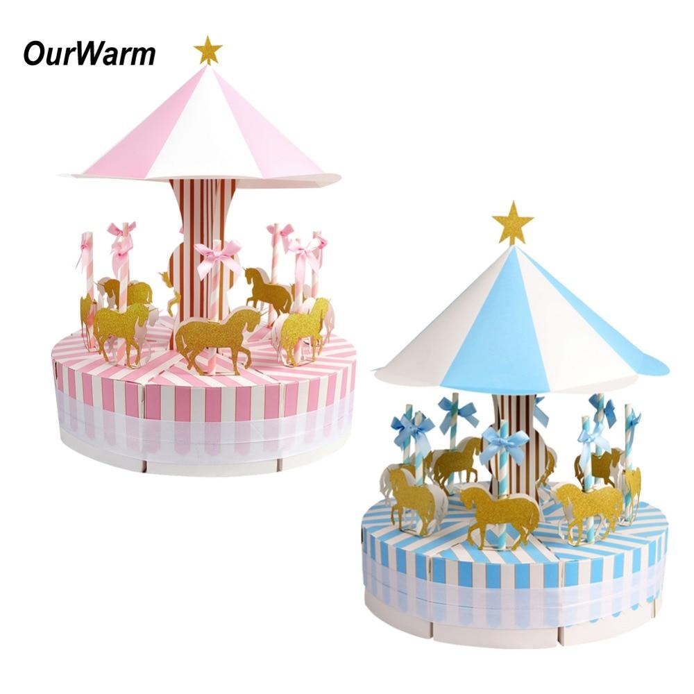 OurWarm 5Set carrusel caramelo caja regalos de boda y regalos de decoración de ducha de bebé suministros postre decoración de la Mesa