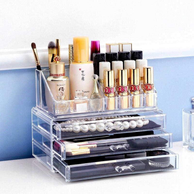 Caja de almacenamiento de joyería acrílica transparente, estuche organizador de maquillaje con cajón, herramientas de maquillaje, soporte de exhibición para artículos diversos de lápiz labial