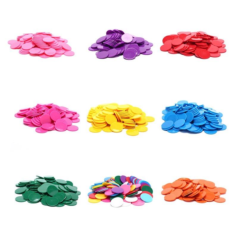 100Pcs/Lot 25mm Plastic Poker Chips Casino Bingo Markers Token Fun Family Club Board Games Toy Creative Gift 9 Colors