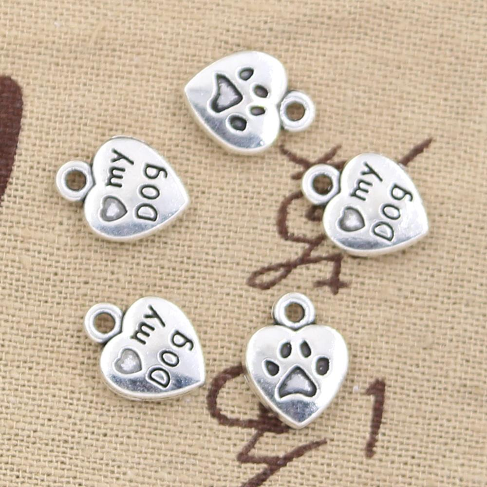 12 шт. Подвески Сердце Любовь моя собака 13x10 мм антикварное изготовление Кулон fit, винтажный Тибетский Бронзовый, серебристый цвет, DIY ювелирные изделия ручной работы