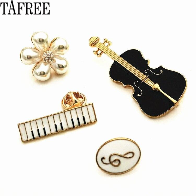 Эмалированные брошки TAFREE для скрипки, гитары, пианино, жемчуга, музыкальных нот, нагрудников, костюмов для сумки, шапки, воротника, зажимов LP374