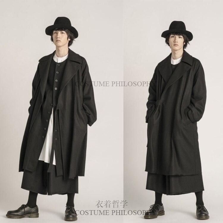 S-6XL! ملابس رجالية شتوية ، معطف واقي من الرياح ، فضفاض وطويل ، ملابس المدرج ، 2019