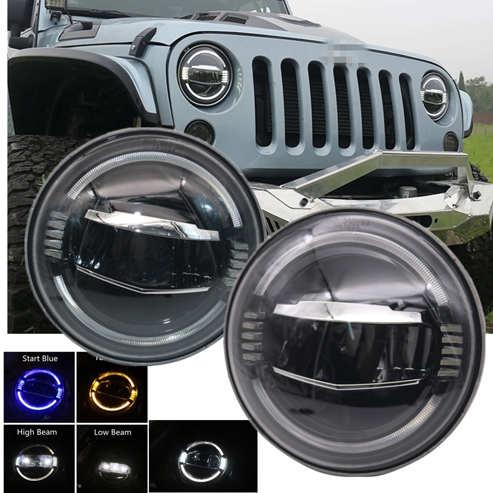 Nuevo coche 7 pulgadas LED ámbar de luz redonda intermitente blanco DRL Hi Low Beam para Jeep Wrangler JK TJ LJ lada niva 4X4