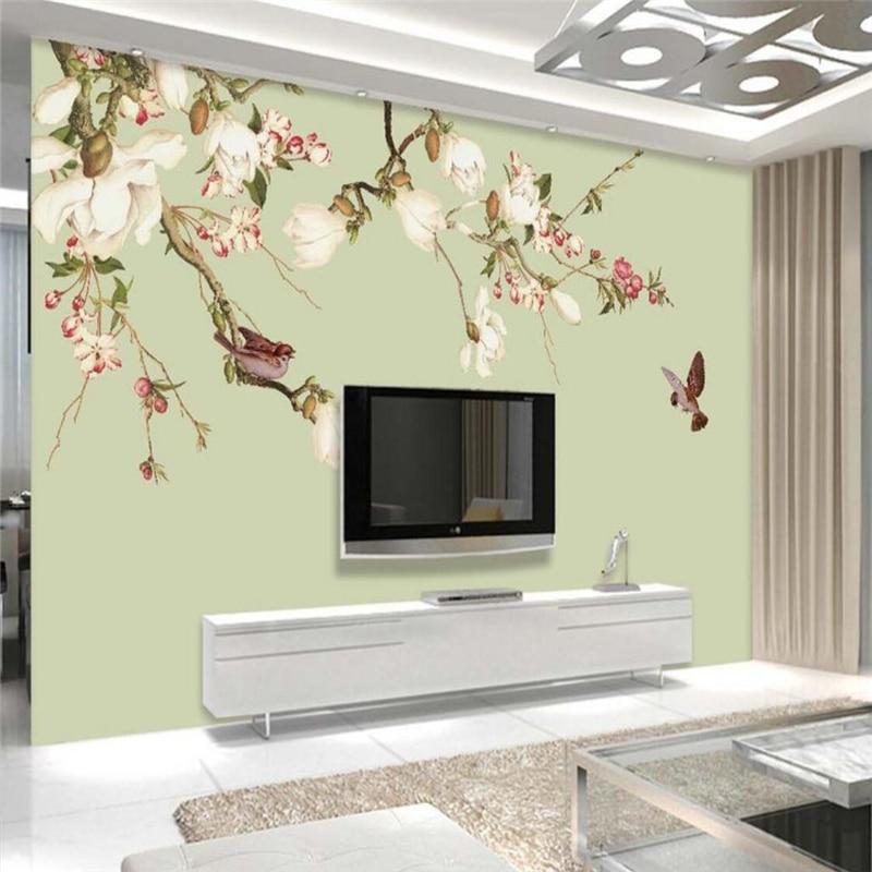 Wellyu-Papel de pared personalizado, mural 3D, flor de pájaro retro, pintado a...