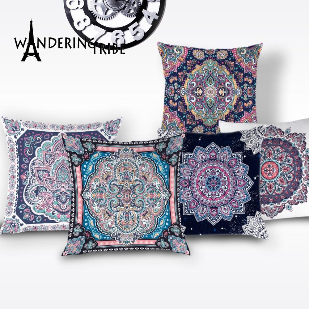 Funda de almohada Vintage manta Bohemia, funda de cojín Mandala, fundas decorativas de lino para el hogar, funda de almohada decorativa Shabby Chic