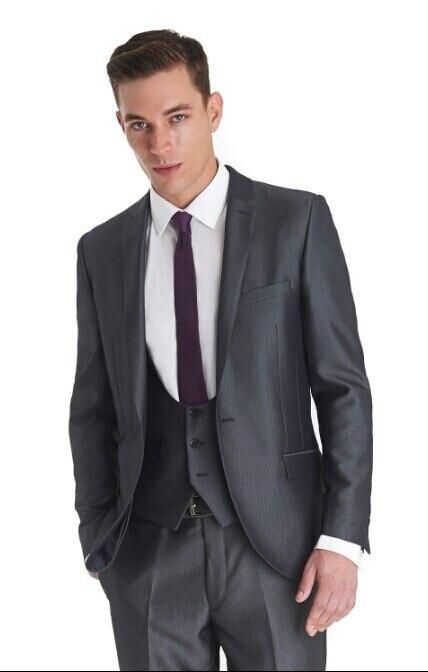 Lado de ventilación novio Tuxedo padrinos de boda gris oscuro de la boda/La cena/noche trajes de hombre mejor novio (chaqueta + Pantalones + corbata + chaleco) B145