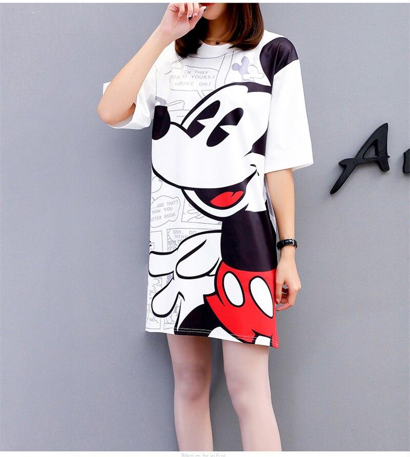 Women Dress Summer Cartoon Black White Loose Cartoon Vestidos Streetwear Fashion Clothing Casual Plus Size Dresses