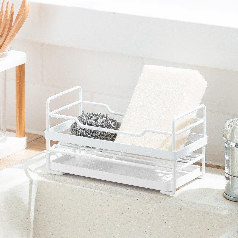 Acier inoxydable cuisine stockage éponge drainant étagère support évier éponge support de rangement tampon à récurer étagère cuisine organisateur