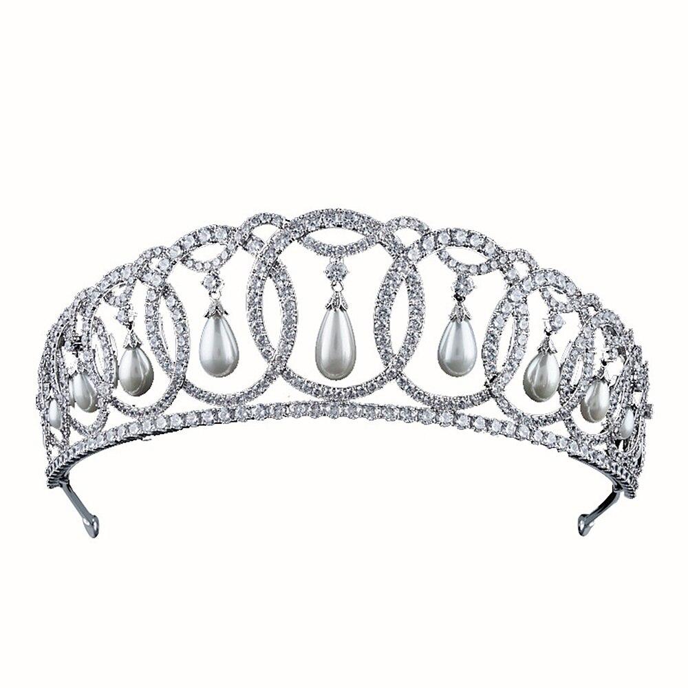 Zircon Princess Bridal Crown CZ Tiara Wedding Hair Accessories Tiaras And Crowns Diadem Couronne Mariage Bijoux Corona WIGO1372