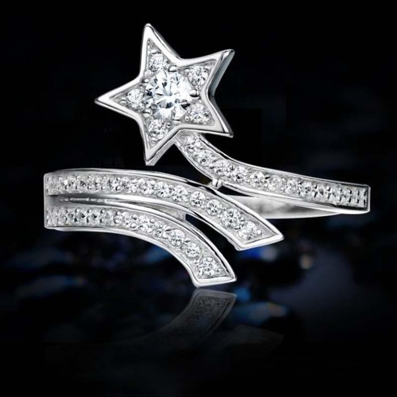 80% anillos de plata para mujer delicada auténtica estrella de joyería ajustable Micro empedrado circón cúbico 925 plata esterlina anillo femenino Bague