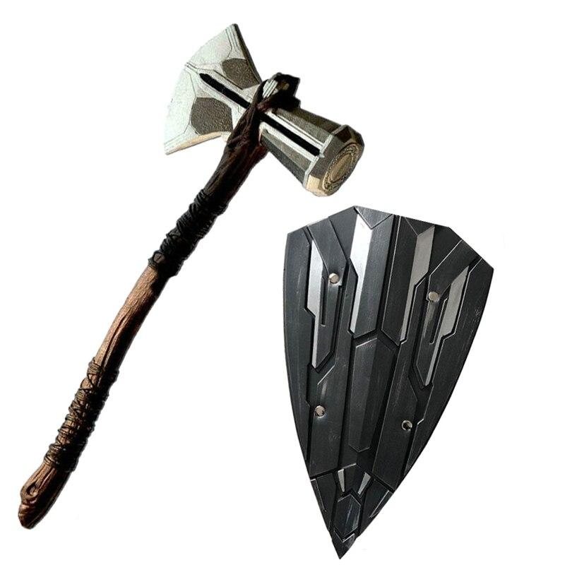 Escudo Thor martillo Mjolnir de Thor armas de guerra Cosplay alta simulación juguetes de goma M136